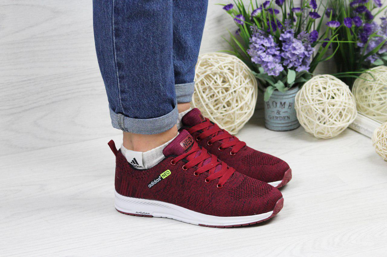 2268c177381f Бордовые Кроссовки Adidas Neo, Женские, Из Сетки 37 (Реплика) — в Категории