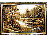 """Пейзаж """"Сосны лесная река"""", большая красивая картина из янтаря удачный подарок"""
