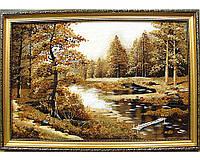 """Пейзаж """"Лес река"""", большая красивая картина из янтаря удачный подарок"""