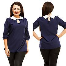 """Стильная женская блуза """"NINELLE"""" с контрастным воротничком (большие размеры), фото 2"""