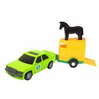 Игрушечная машинка, авто-мерс зеленый с прицепом и лошадкой, Wader 39003-4