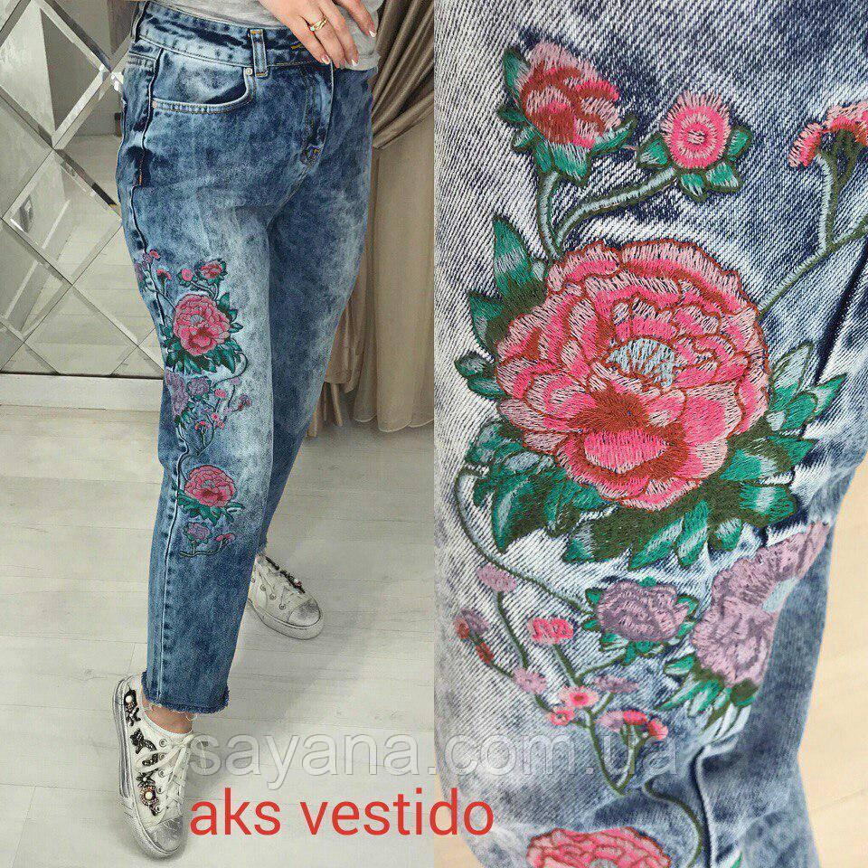 4334b43b45e Женские коттоновые джинсы с вышивкой в моделях
