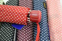 Зонт женский механика  8 спиц на карбоне в мелкий горошек