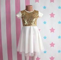 Детское белое платье для девочки с золотыми пайетками размер 6-7-8-9-10 лет