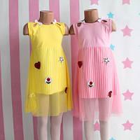 Детское летнее платье для девочек фатин с нашивками размер 4-5-6-7-8 лет