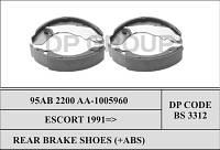 DP BS 3312 Колодки тормозные задние с Abs (узкие) FORD ESCORT