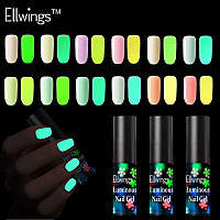 """Люминесцентный лак для ногтей """"Ellwings"""", светящийся лак в темноте, номера 6653, 6654, 6659"""