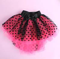 Детская юбка Кармен фатин в черный горошек размер 5-6-7-8 лет