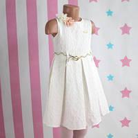 Детское белое платье Жатка с ремешком размер 5-6-7-8 лет