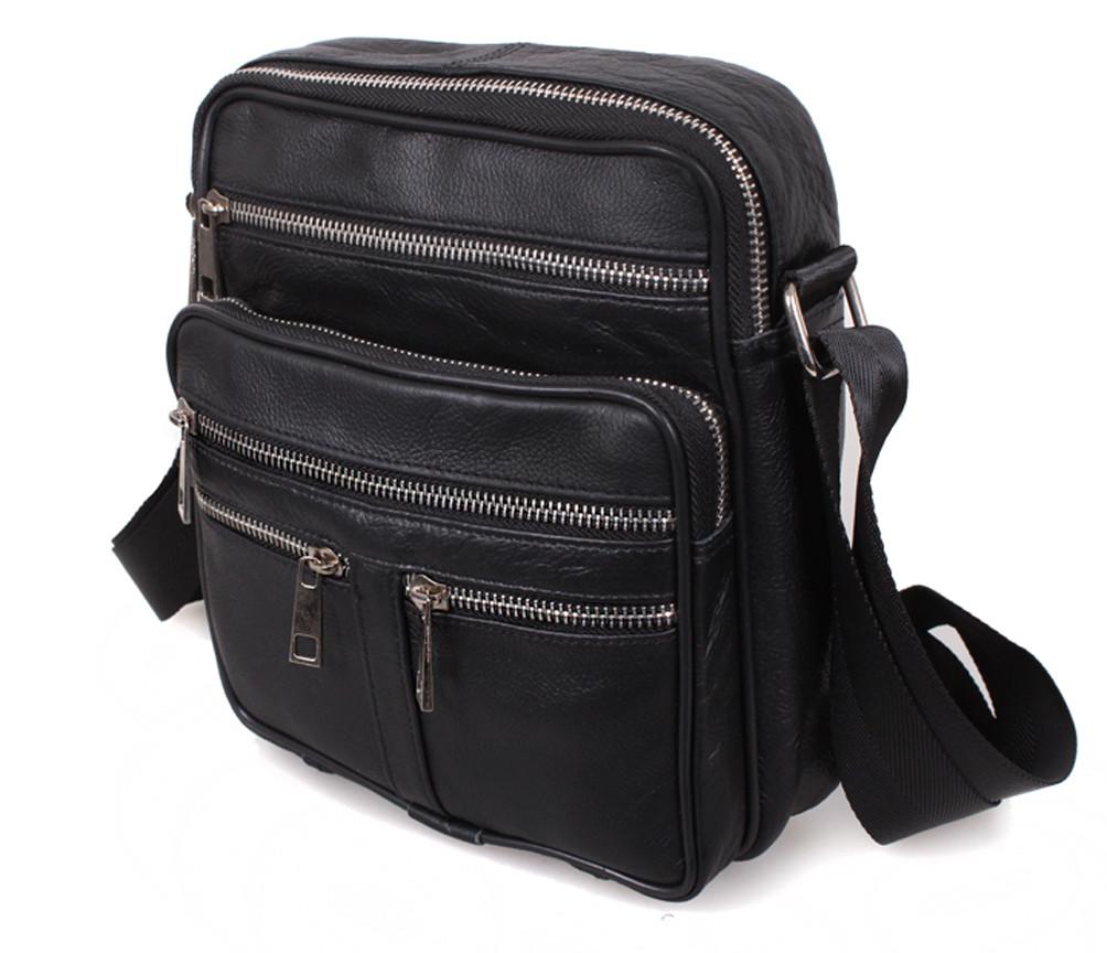 Мужская кожаная сумка 6029 черная