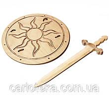 "Рыцарский мечВикинга 68 см со щитом Викинга ""Солнце"" 40 см"