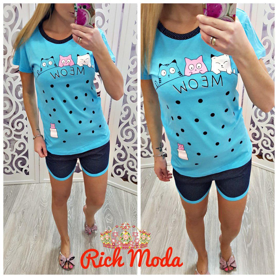 Пижамный костюм шорты и футболка meow