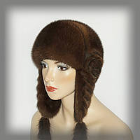 Норковая женская ушанка  палевого цвета, фото 1