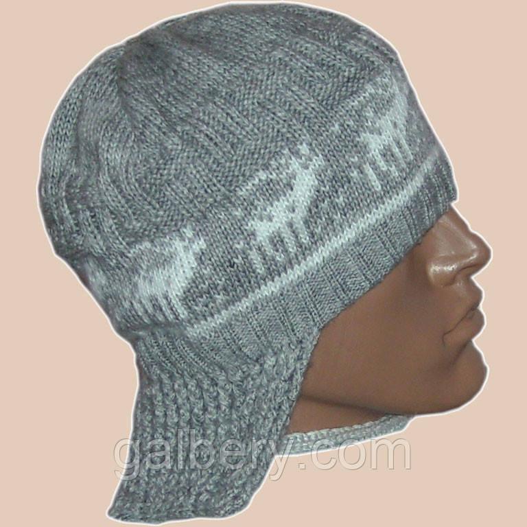 Мужская вязаная шапка - ушанка на подкладке с норвежским орнаментом