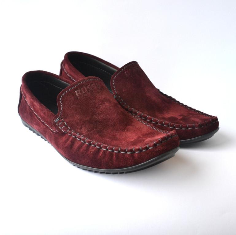 Мокасины замшевые бордовые мужская обувь больших размеров Rosso Avangard Guerin M4 Bordeaux Grey цвет марсала