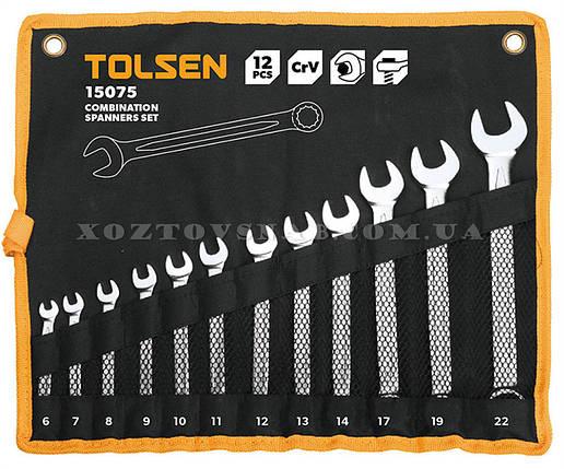 Набор ключей комбинированных в чехле 12 штук CrV «Tolsen», фото 2
