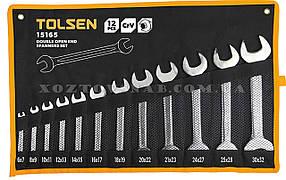Набор ключей рожковых в чехле 12 штук CrV «Tolsen»