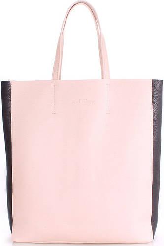Женская сумка из натуральной кожи PoolParty city2-beige-black беж/черный