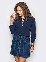 Женская стильная блуза на шнурках, цвет синий, фото 1