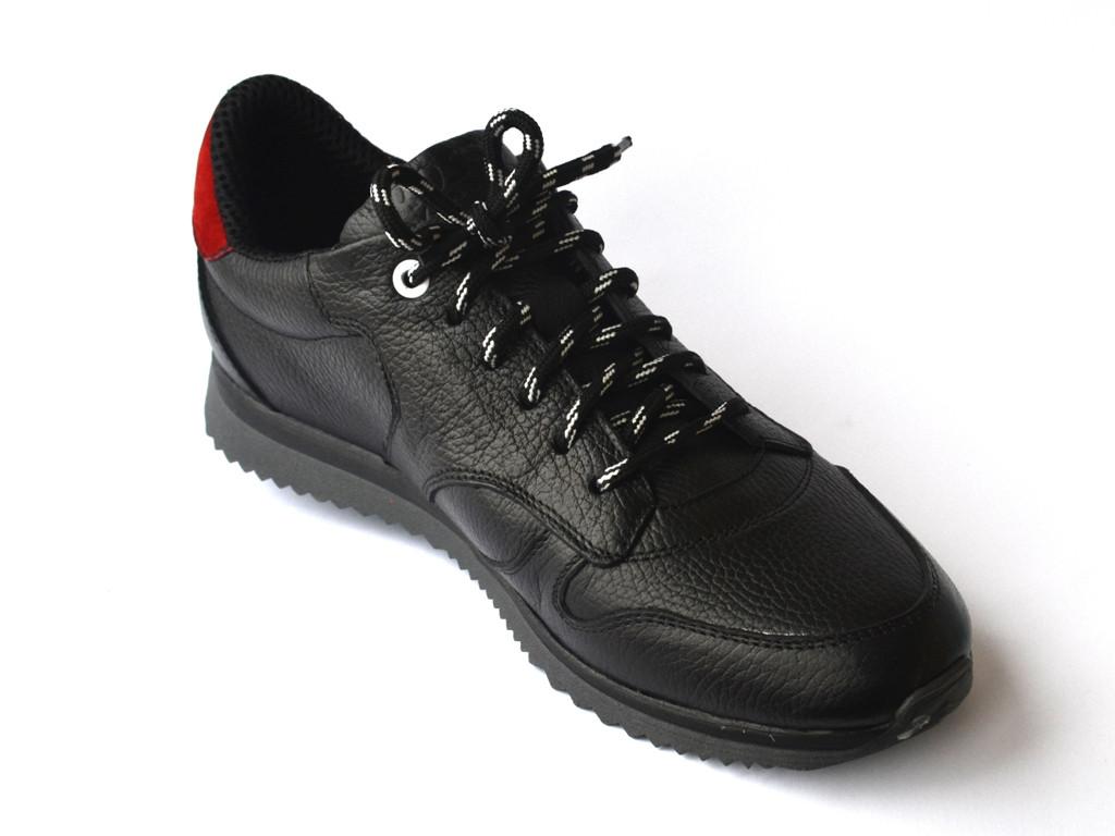 Кроссовки мужские черные кожаные сникерсы Rosso Avangard Black-Red Panther