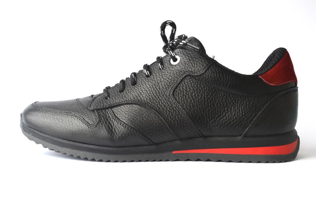 Кроссовки мужские кеды повседневные черные кожаные обувь демисезонная Rosso Avangard Black-Red Panther