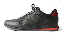 Кроссовки мужские кеды повседневные черные кожаные обувь демисезонная Rosso Avangard Black-Red Panther, фото 1