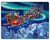Пазл рамка-вкладыш Дед Мороз и северное сияние Lasren серия Мини (Z5)