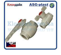 Полипропилен кран шаровой с пластиковым шаром 40 ASG-Plast (Чехия)