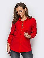 Женская стильная блуза на шнурках, цвет красный, фото 1
