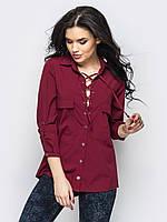 Женская стильная блуза на шнурках, цвет бордо, фото 1