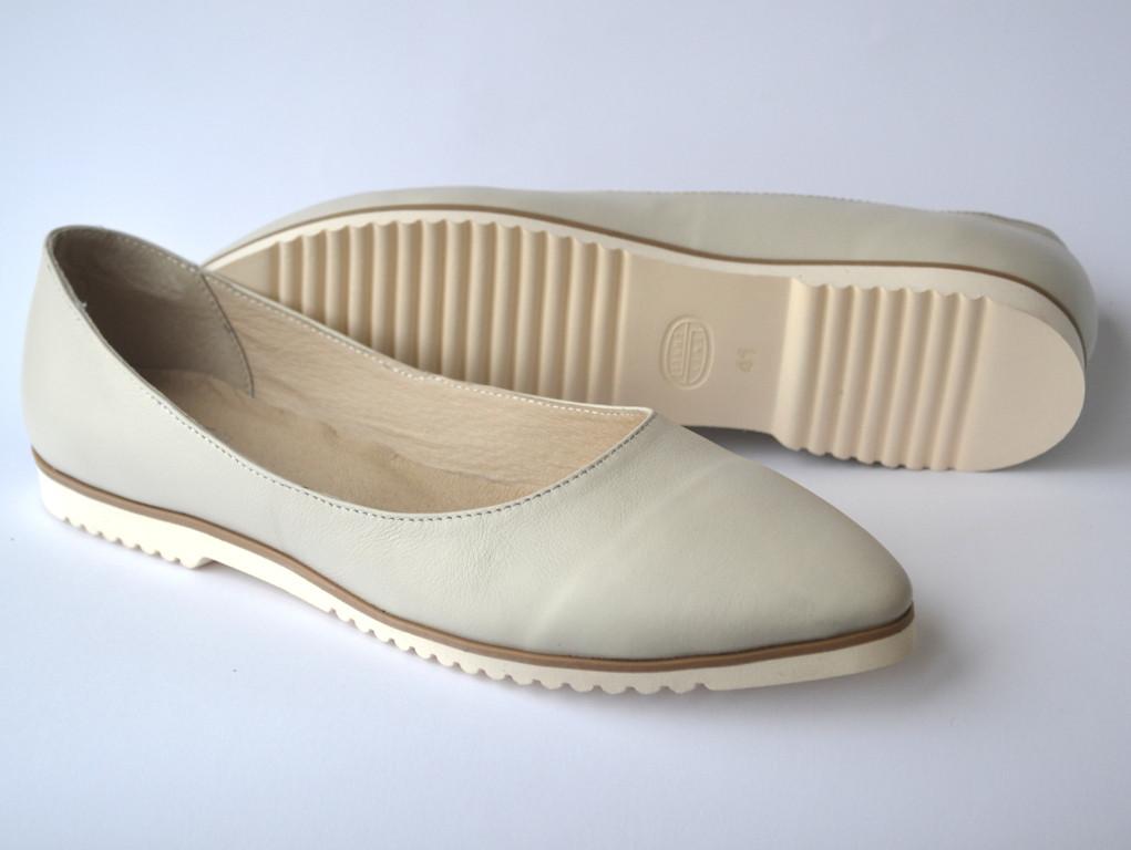 """Балетки кожаные женская обувь больших размеров Gracia V Beige by Rosso Avangard цвет бежевый """"Кофемилк"""""""