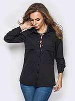 Женская стильная блуза на шнурках, цвет чёрный, фото 1