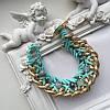 Браслет плетеный Olivia с бусинами голубой с золотом, фото 2