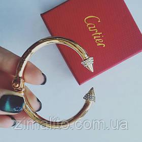 Браслет жесткий в стиле Cartier золотистый