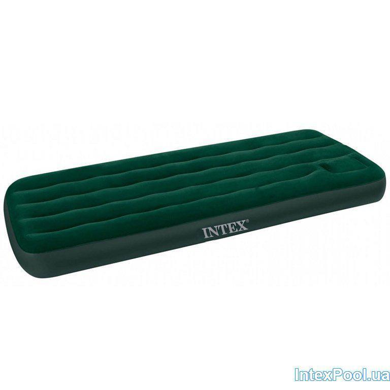 🔥✅ Односпальный надувной велюровый матрас Intex 66927 со встроенным насосом 191x99x22 см