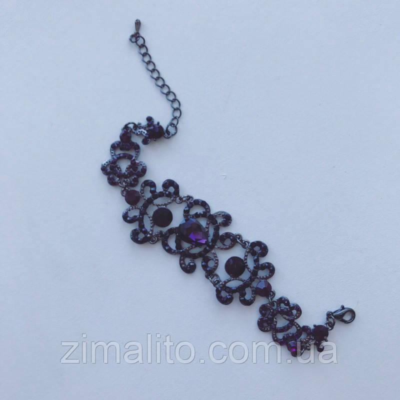 Браслет с фиолетовыми стразами и темным покрытием Шелли