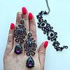 Браслет с фиолетовыми стразами и темным покрытием Шелли, фото 3