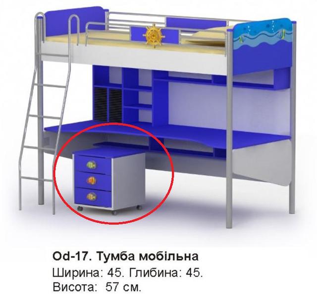 Тумба мобильная Оd-17 Ocean (размеры)