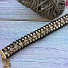 Браслет плетеный на золотой цепи с черным и белыми стразами, фото 2