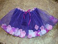 Нарядная юбка с фатина с лепестками роз для девочки