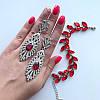 Браслет серебристый Листья красные, фото 2