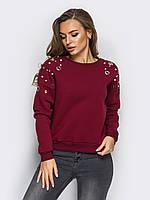 Женский стильный свитшот на флисе,цвет бордо, фото 1