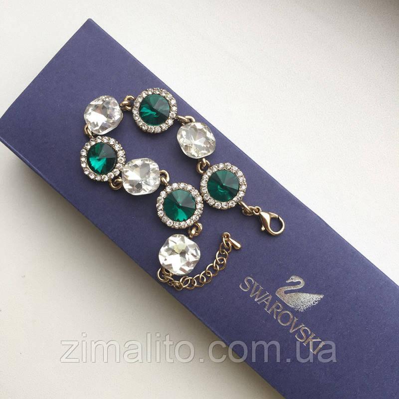 Браслет золотистый Lux Edition с зелеными и белыми камнями