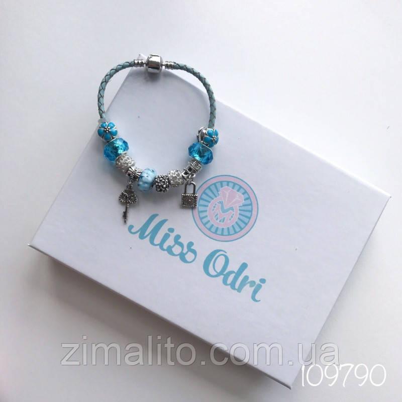 Браслет реплика Pandora с голубыми бусинами
