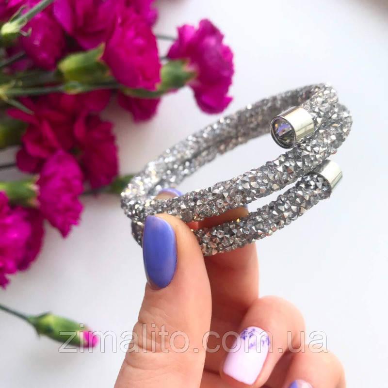 Браслет жесткий в стиле Swarovski серебро