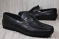 Летние кожаные мужские мокасины с перфорацией черные