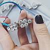 Браслет серебристый с голубыми камнями и белыми стразами, фото 2