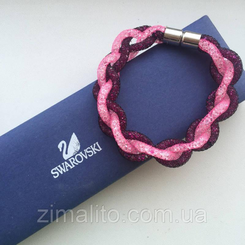Браслет реплика Swarovski плетение розово-фиолетовый