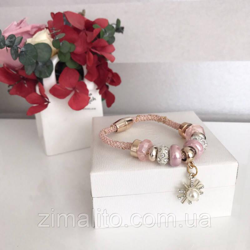 Браслет реплика Pandora в нежно-розовом