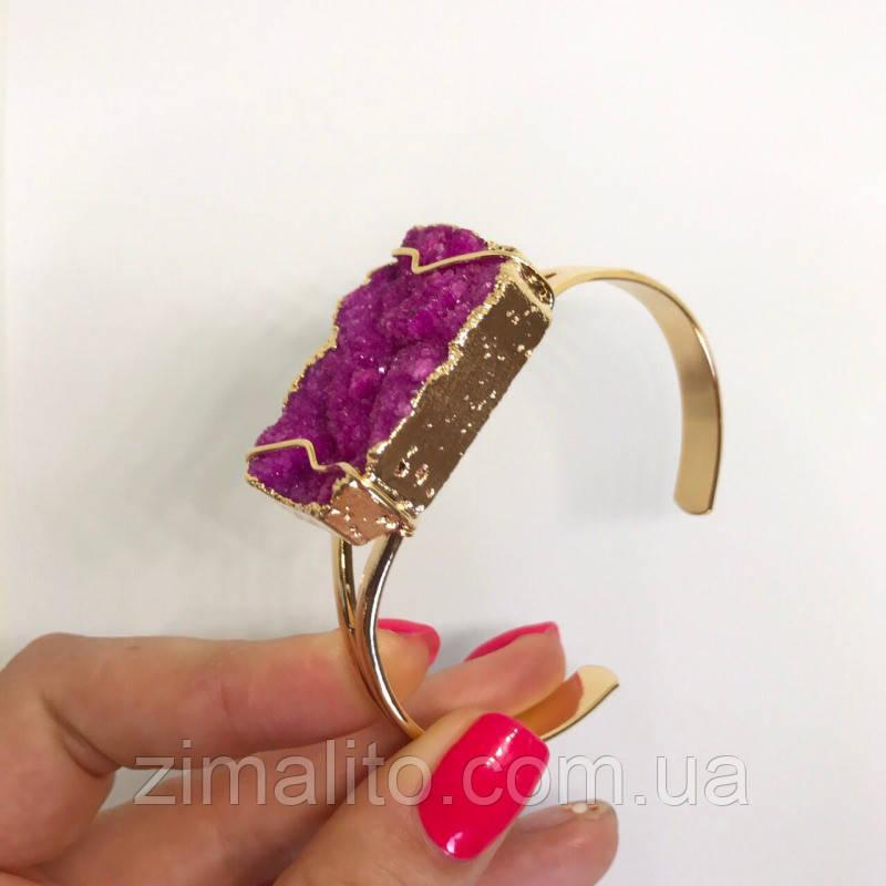 Браслет жесткий в стиле Fashion золотистый аметист фиолет